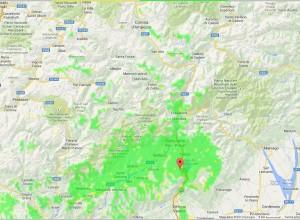 Mappa della copertura di IR3UC in provincia e limitrofe